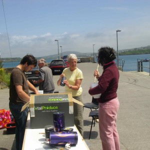 Making pinhole cameras on the pier, Sherkin Island
